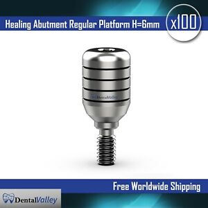 100X Dental Implants Standard Healing Cap Abutment H=6mm Compatible With Zimmer