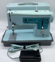 Vintage Singer Sewing Machine Model 347 Robins Egg Blue W Case Foot Pedal Retro