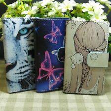Fly Butterfly Tiger Cat Girl Wallet Holder Magnetic Flip case cover for Samsung