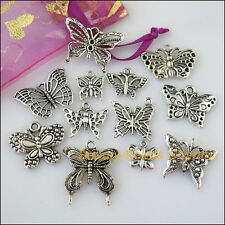 12 New Mixed Lots of Tibetan Silver Tone Animal Butterfly Charms Pendants
