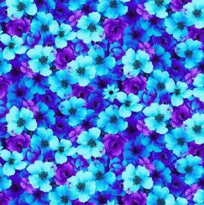 1/2 Metre Timeless Treasures Night Bloom - Chong-A Hwang C7810 Aqua Quilt Fabric