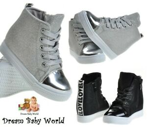 WEDGE Glitter Girls canvas shoes high HI TOP ankle trainers KIDS WOMENS sparkly