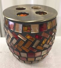Brand new hand Made Glass Amber mosaic bathroom tooth brush holder
