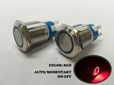 2 of MARINE BOAT SS304 RED LED FLUSH LIGHT AUTO ON-OFF PUSH SWITCH RING BUTTON