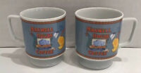 Vintage Maxwell House Coffee Cups Mugs 1970s Pedestal Footed Small Set of 2
