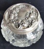 Vintage STERLING SILVER Lid ABP CUT GLASS Bowl Box Vanity DRESSER Powder JAR