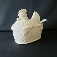 Country French White Ceramic Chicken in Basket Gravy Boat Bowl & Spoon Farmhouse