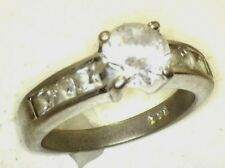 Antique Vintage Sterling Silver SS Faux Diamond Round 1.5 ct  Wedding Ring #B80