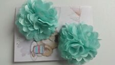 "2 Girls small  2"" Satin and mesh Flower Hair Clips .Aqua Mint/light turquoise x2"