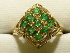 R156- Genuine 9ct Solid Yellow Gold NATURAL Real Emerald CLUSTER Ring size N