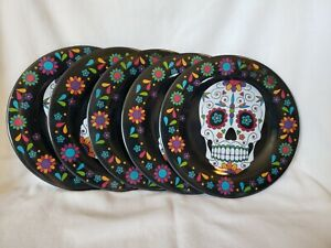 4 Plates Plus 1 Free Halloween Day of The Dead Skull Black Colorful