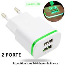CHARGEUR USB 2-PORTE LED SECTEUR PRISE ADAPTATEUR POUR IPHONE SAMSUNG SMARTPHONE