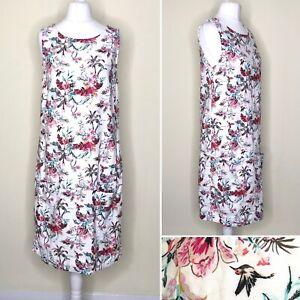 M&S Shift Dress UK 10 Ivory LINEN BLEND Midi Floral POCKETS Lined Sleeveless