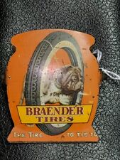 Braender Tires Bulldog Early Advertising Sign Clip TAC THE AUTHENTICATION CO