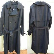 BURBERRYS NAVY BLUE DOUBLE BREASTED TRENCHCOAT WITH PLAID WOOL LINING SZ 46