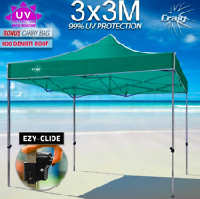 3x3m PVC Folding Gazebo Shade Tent Market Party Marquee Canopy Pop Up Green