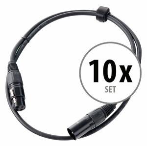10x Cavi Microfono XLR DJ PA Studio Palco Cannon Registrazione Professionale 1m