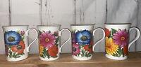 Crown Trent Set Of 4 Fine Bone China Woodstock Floral Coffee Tea Mugs England