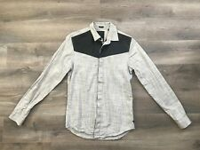 Men's GUESS Los Angeles Slim Fit Button Down Shirt Gray Black w| Faux Leather XS