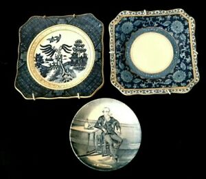 Antique LOT 3 1920's Japanese Top Quality BLUE WILLOW Bone China Display Plates