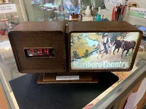 Vintage Marlboro Advertising Digital Clock With Unused Calendar