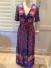 Jaase fliral Blau Maxi Rayon Kleid uk8/10