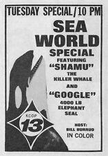 1967 TV AD~SEA WORLD SPECIAL~SHAMU WHALE & GOOGLE 4000 POUND ELEPHANT SEAL