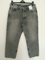 LADIES M&S SIZE 12 14 16 OR 20 GREY STRAIGHT ANKLE GRAZER COTTON JEANS FREE POST