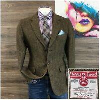 Vintage Harris Tweed Mens Sport Coat Blazer Size 40L Wool Jacket Herringbone