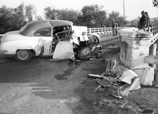 1950s Chevrolet Coupe Hits Bridge causing fatality   8 x 10 Photograph