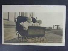 Twins Babies Wicker Stroller Buggie Carriage Real Photo Postcard RPPC c1910