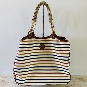 TORY BURCH Ivory Brown Blue Stripe Large Canvas Tote Bag Rope Handles