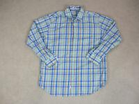 Peter Millar Button Up Shirt Adult Extra Large Blue Green Long Sleeve Mens