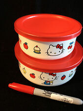 New Other~2 ENAMEL SANRIO HELLO KITTY BOWLS w/LIDS from JAPAN-ship free