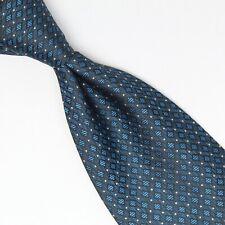 Pura Seta Hommes Cravate Soie Bleu Diamant Carreaux Pois Imprimé Fait en Italie