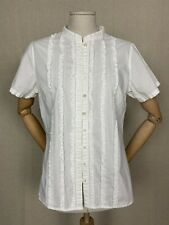BODEN white short sleeve woman's blouse shirt ruffled front 100% cotton 14UK M/L