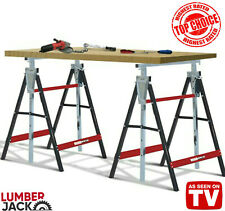 Lumberjack 2 x Folding Work Horse Trestle Saw Adjustable Height Stand 150kg Each