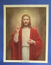 Vintage Catholic Print Picture SACRED HEART of JESUS by C. Bosseron Chambers