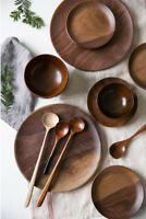 "5.9""/7.8""/9.8"" Plates Black Walnut 100% Wooden Tableware Beech Wood Dish"