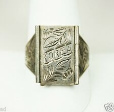 Vintage Mens Mans 925 Sterling Silver Korea Poison Ring Military Sz 10.75 1950s