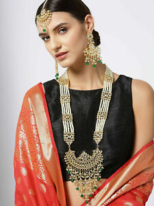 Indian Bollywood Gold Plated Long Kundan Necklace Earrings Tikka Wedding Jewelry