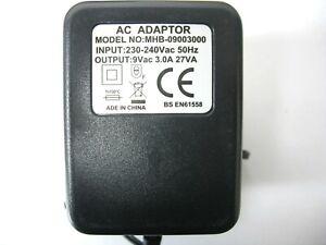 3000ma 9v AC-AC (AC Output) Mains Power Adaptor/Supply/Charger (3a, 27w, 27va)