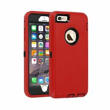 Otterbox Inspired Red Defender Case Cover-iPhone X 8 7 Plus 6S Plus 6 5 SE-Clip