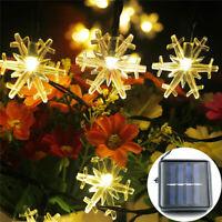 LED Solar Powered Snowflake String Fairy Lights Xmas Garden Outdoor Party Decor