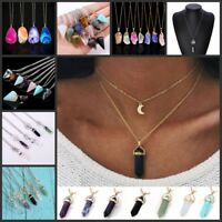 Chic Natural Quartz Crystal Stone Point Chakra Healing Gemstone Charms Necklace