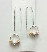 Three Color Dangle Faced Cut Ball Style Rhodium Plated Threader Earrings