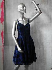 Miss astor KLEID 38 nachtblau 90er Rosen Glitter Silvester TRUE VINTAGE dress