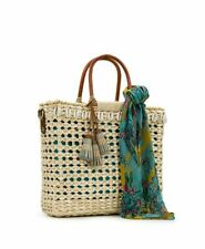 NEW Patricia Nash Woven Ceriana Straw Tote Purse Bag Shells Natural and Scarf