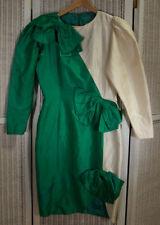 "CHRISTINA STAMBOLIAN Vintage 1980s Silk Dress 36"" Bust Kelly Green St. Patrick's"