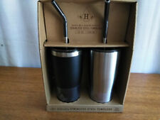 2 Tumblers Stainless Steel Double Wall Vacuum Insulated Hot & Cold Sip Or Straw